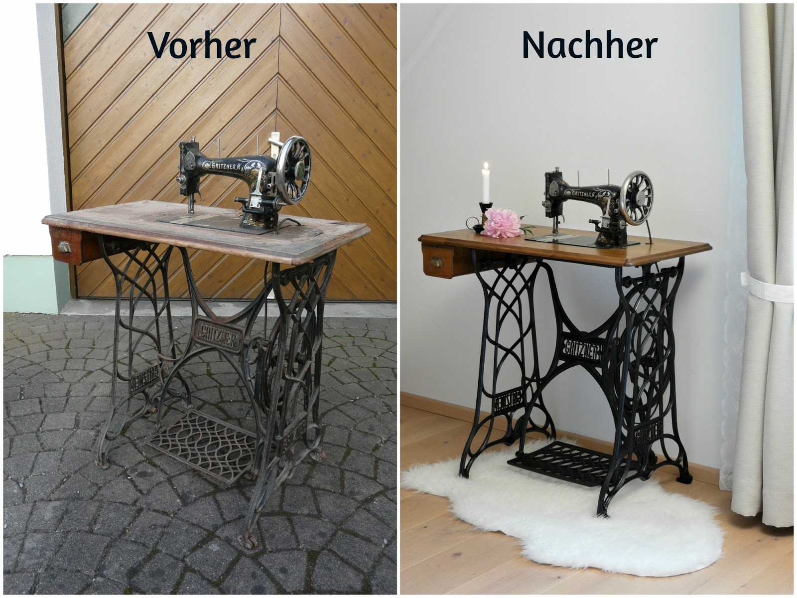 dekoelement alte n hmaschine gritzner r bekommt neues aussehen. Black Bedroom Furniture Sets. Home Design Ideas