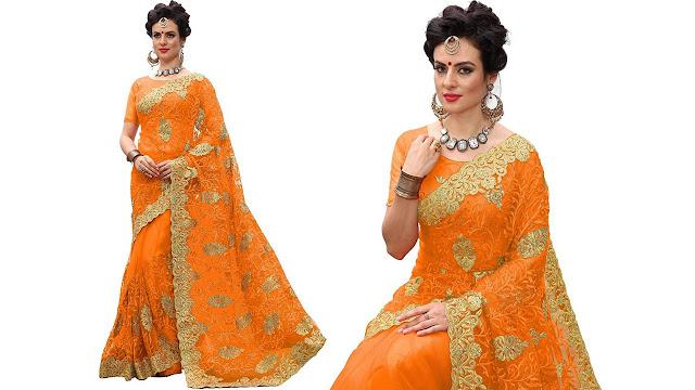 Pragati Fashion Hub Embroidered Fashion Net Saree  (Orange)