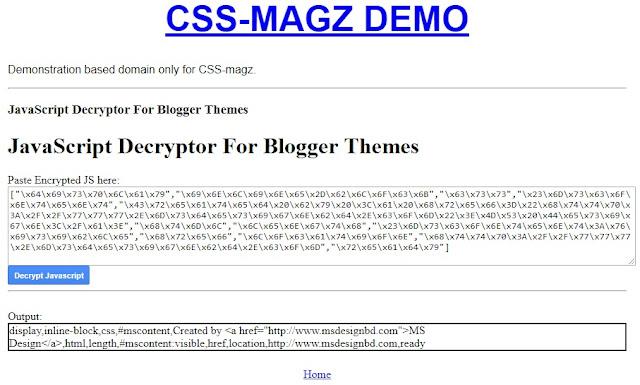 JavaScript decrypter webtool