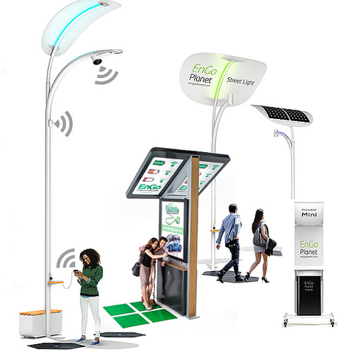 www.Tinuku.com EnGoPlanet installed smart street lights that harvest electrical energy using kinetic tiles of step pedestrians