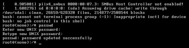 Proses mengubah kata sandi user root debian
