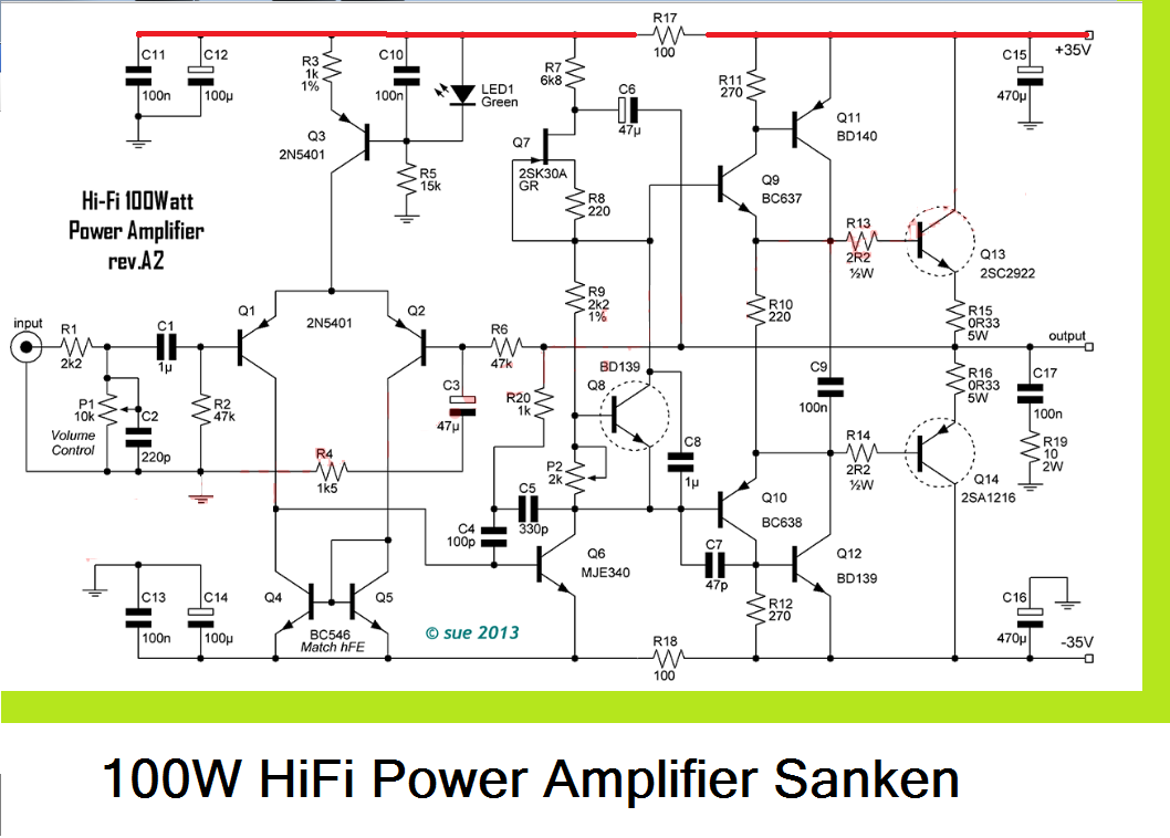 100w Hifi Power Amplifier Circuit With Sanken Electronic