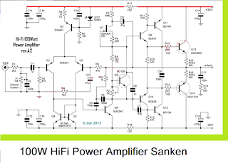 100W HiFi Power Amplifier circuit with Sanken Circuit Diagram