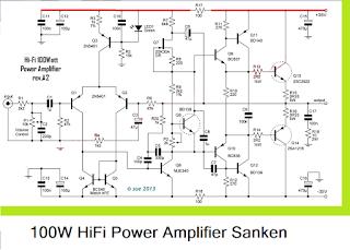 100W HiFi Power Amplifier circuit with Sanken Circuit Diagram