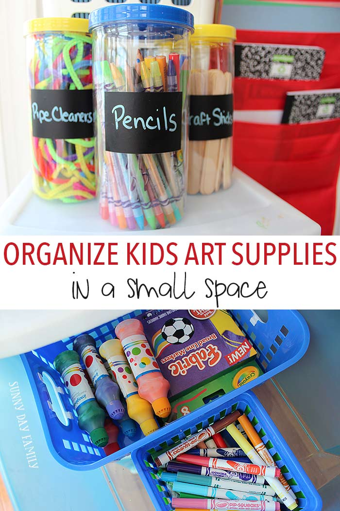 Organize all your kids art supplies and create a fun craft area even if you don't have a lot of room with these awesome ideas! Clever and inexpensive ways to create a kids art space.