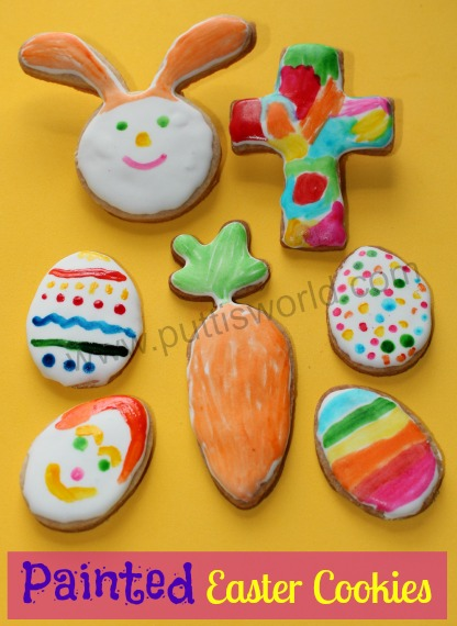 Kids Painted Easter Cookies