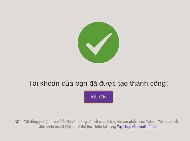 đăng ký yahoo mail thành công