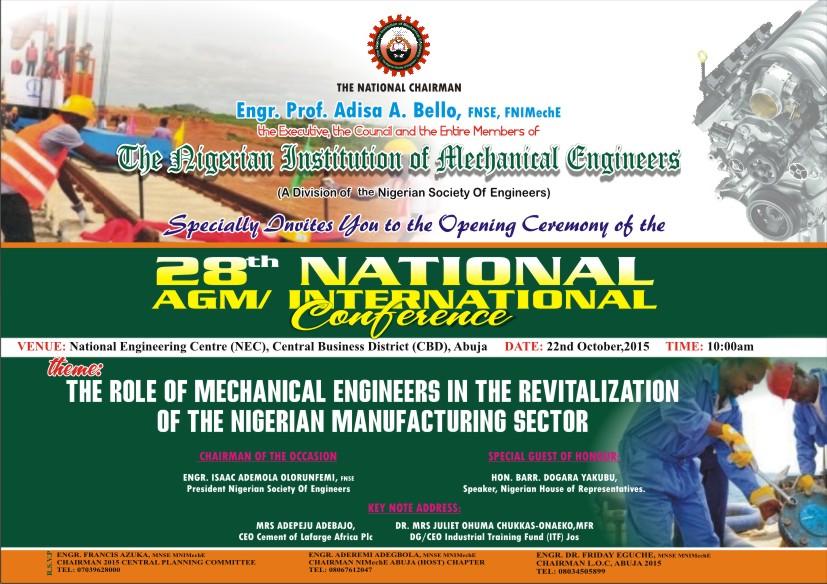 Invitation to 2015 NIMechE International Conference in Abuja