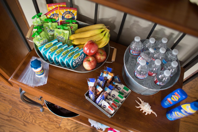 Hiking Party Setup Treats and Snacks