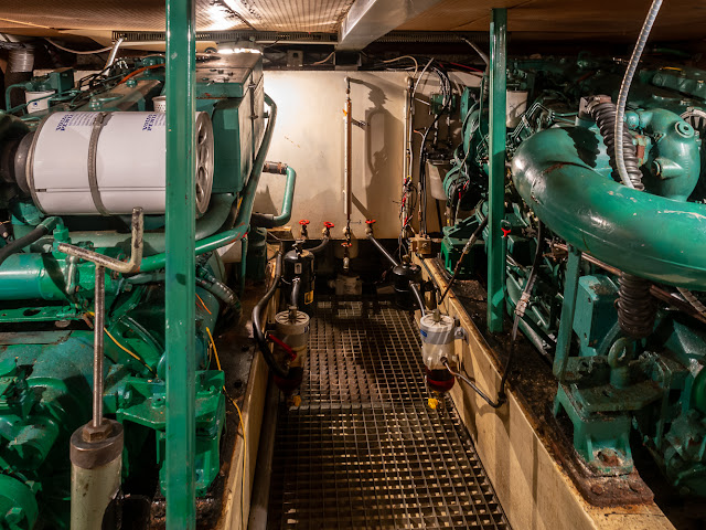Photo of Ravensdale's engine room lit up by the new bulbs