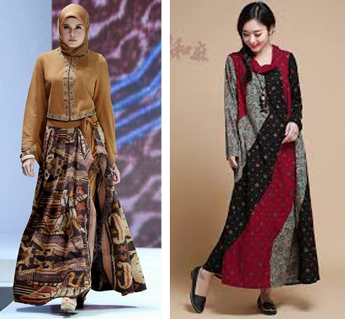 model baju gaun batik