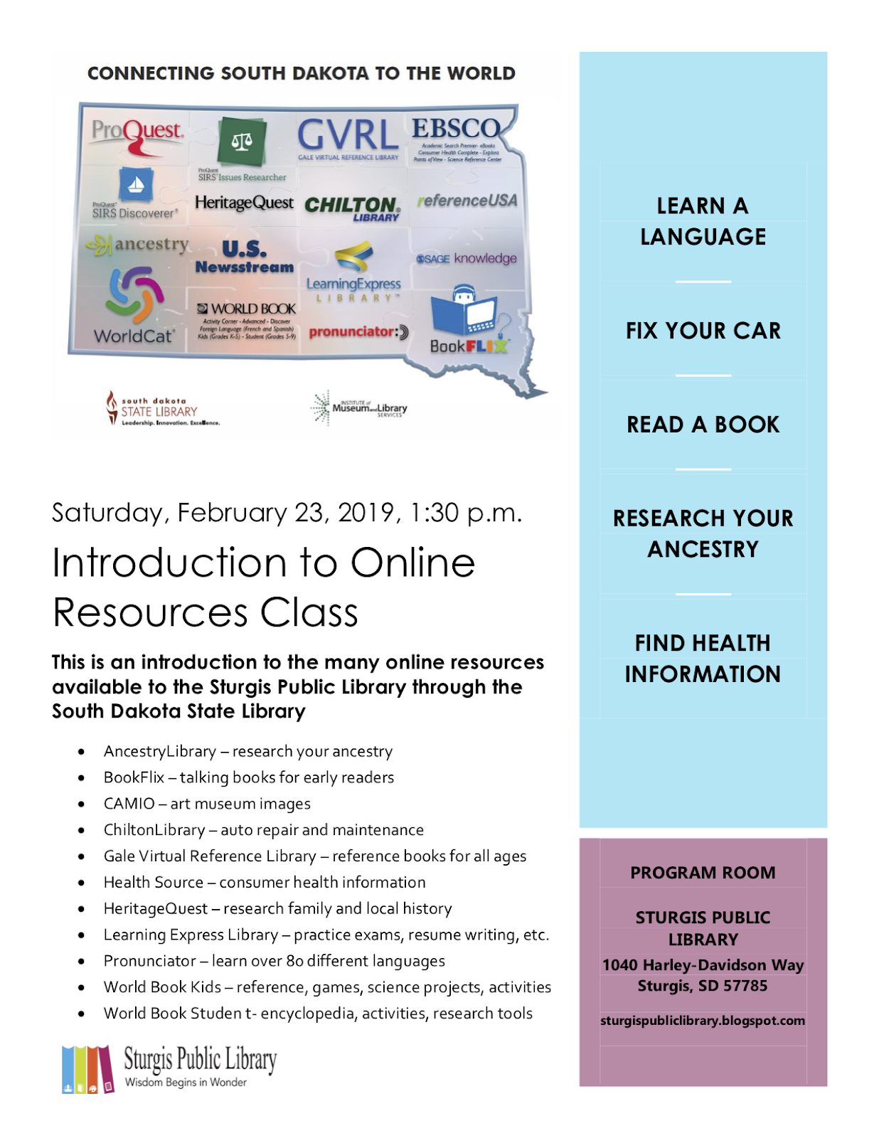 Sturgis Public Library: Introduction to Online Resources Class