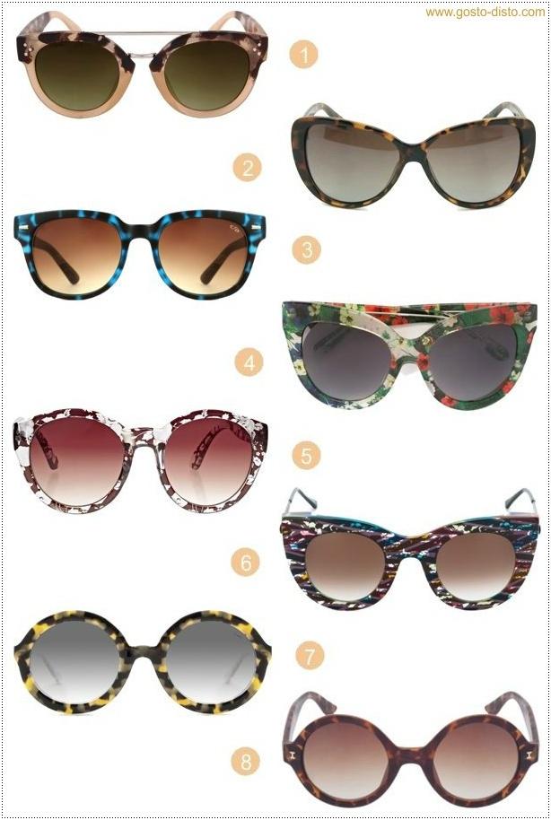 afa29fea8 Gosto Disto!: Óculos estampados - Enfrentando o sol com muito estilo