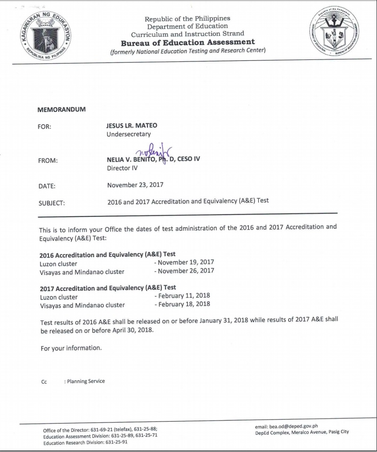 ALS Accreditation And Equivalency Test November 2017 RESULTS