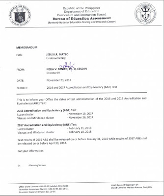DepEd Memo RE ALS Accreditation and Equivalency Test November 2017 RESULTS