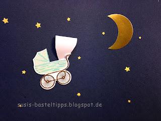 Stampin up miniatur märchenland der kleine Hävelmann am Sternenhimmel mit Mond
