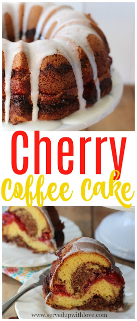 An easy Cherry Coffee Cake recipe filled cherries and cinnamon flavor. Perfect for an easy dessert or a great breakfast.