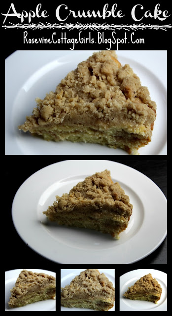 photo of a collage of slices of apple crumble cake on a white plate. rosevinecottagegirls.com Apple Coffee Cake