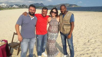 Na foto: Júnior cinegrafista, Mauricio Manfrini, Branca Andrade e o auxiliar Jurandir. Crédito Divulgação SBT