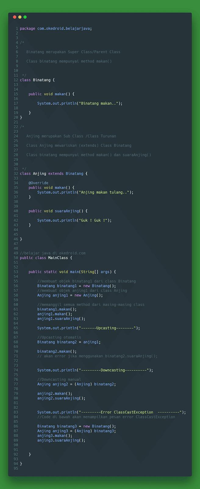 Contoh Code Program Upcasting Downcasting Casting pada Tipe data kelas objek pada java