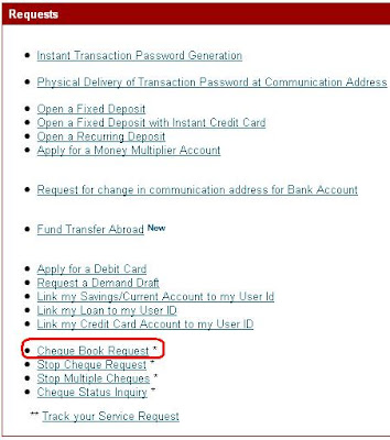 Order Cheque Book in ICICI Bank