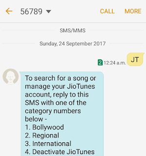 SMS JT to 56789