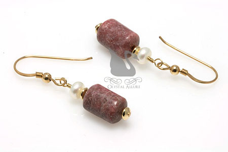 Freshwater Pearl Rhodonite Gemstone Beaded Earrings (E216)