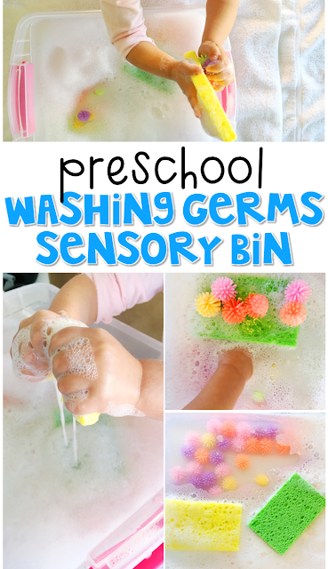 We LOVE this washing germs sensory bin. Great for tot school, preschool, or even kindergarten!
