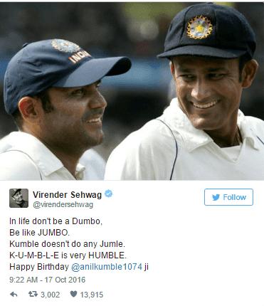 Virender Sehwag Tweet wishing birthday to Anil Kumble