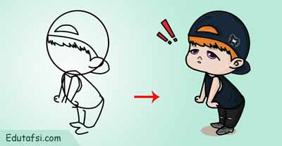 Tutorial menggambar kartun chibi boy lucu step by step