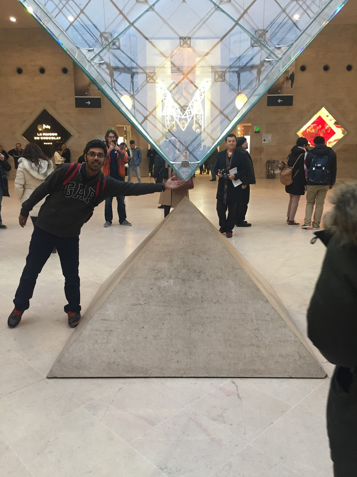 Just a customary pose in Louvre Museum Paris