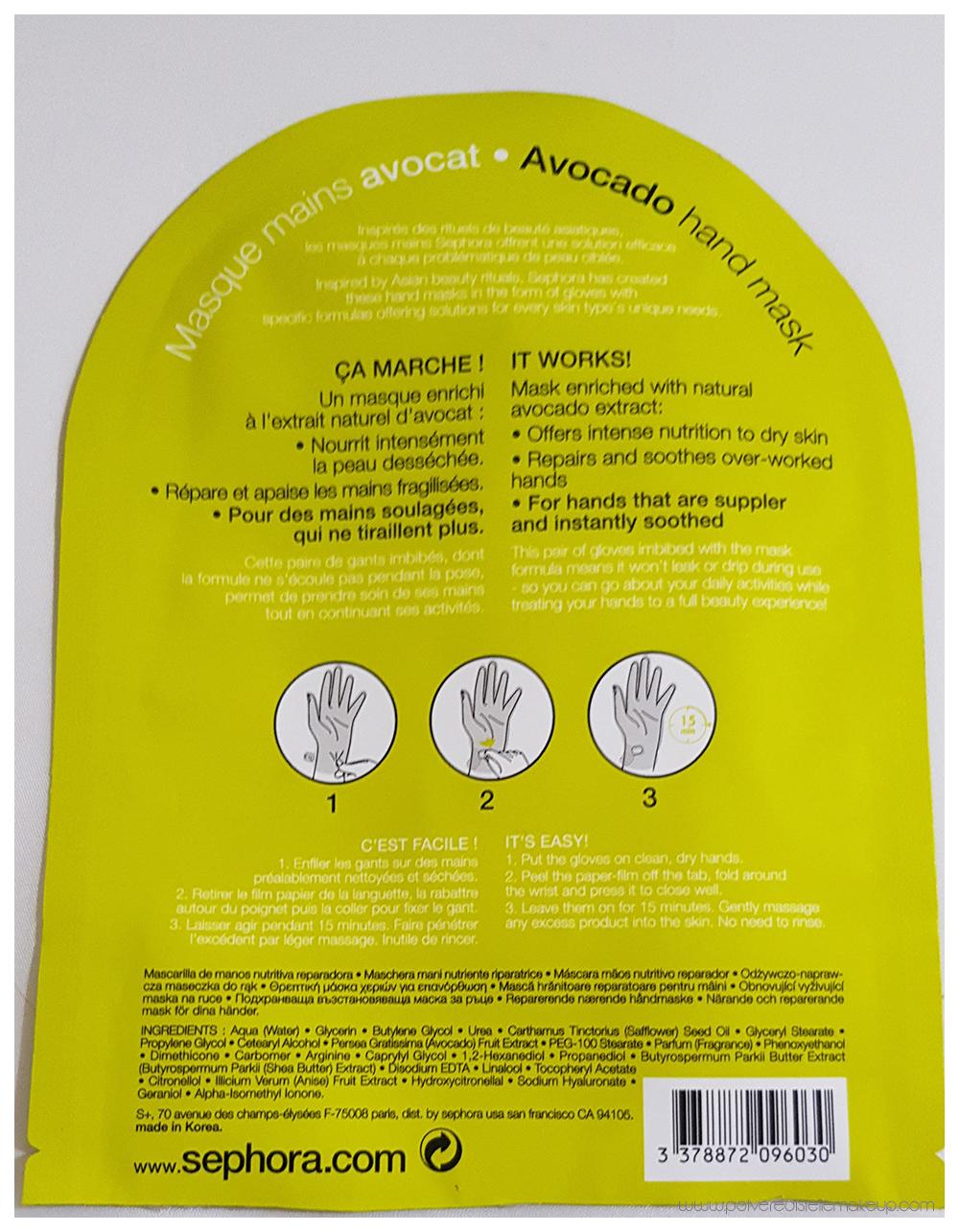 Maschera mani Sephora Avocado