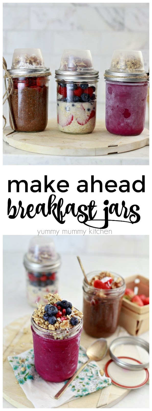 mason jar breakfast and snack recipes. Vegan chia pudding, overnight oatmeal, and dragon fruit bowls.