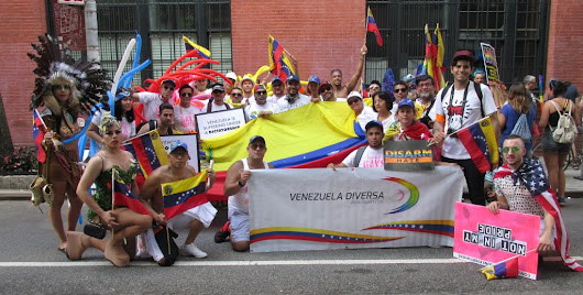 Venezuelan LGBT immigrants march in NYC Pride for Democracy in their country.
