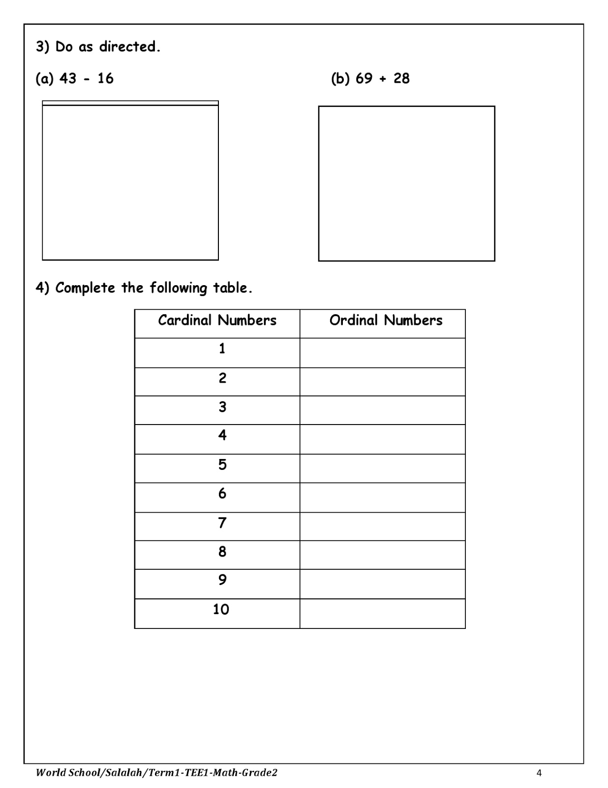Birla World School Oman Homework For Grade 2 As On 07 12