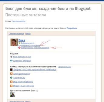 Как заблокировать, написать сообщение читателю блога