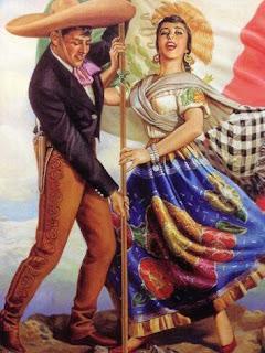 Charro y mujer con bandera de México.
