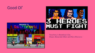 "Title: Good Ol'. Features pixel art images from Treachery in Beatdown City. One is the title screen, showing a street scene with store fronts and the characters beating up enemies with the NYC skyline in red above. The other shows closeups of the protagonists' faces - a latina woman with tan skin and purple hair, a man with light skin and dark long hair, and a black man with dark brown skin and very short black hair. The text, ""3 HEROES MUST FIGHT,"" is written below them."
