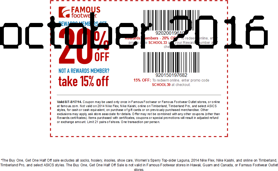 Famous footwear coupons print