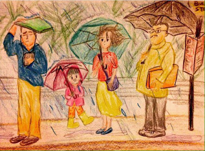 mother daughter raining drawing sketch art motherhood mom
