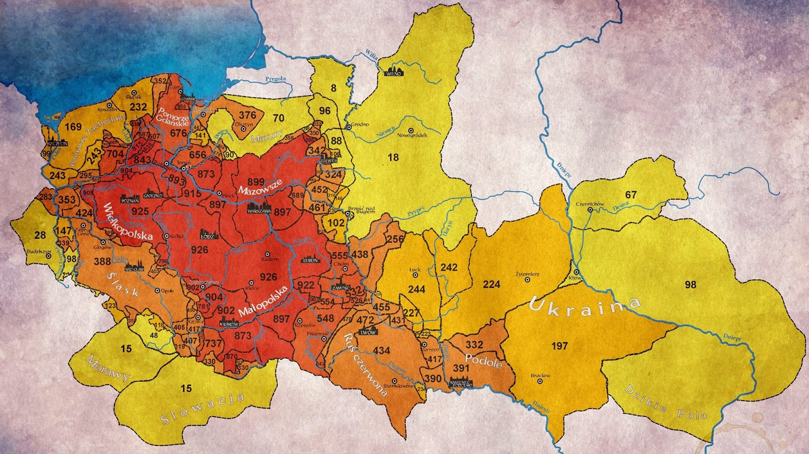 Map showing how many years the territory was included in Poland