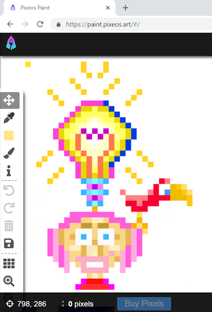 Pixelated person with lightbulb and bird by Joe Chiappetta, drawn in pixEOS Paint game.