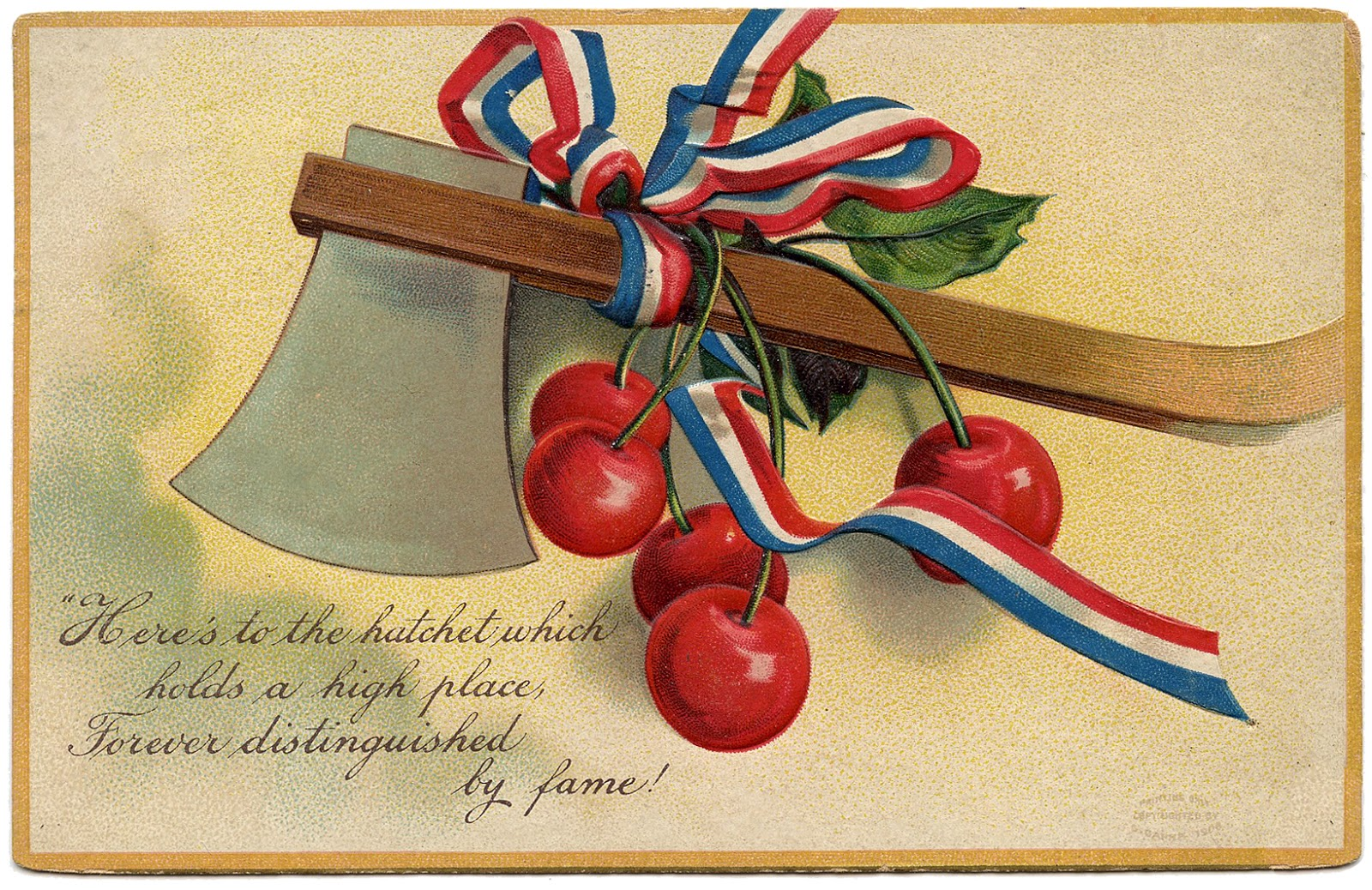 A Presidential greeting card, featuring cherries.