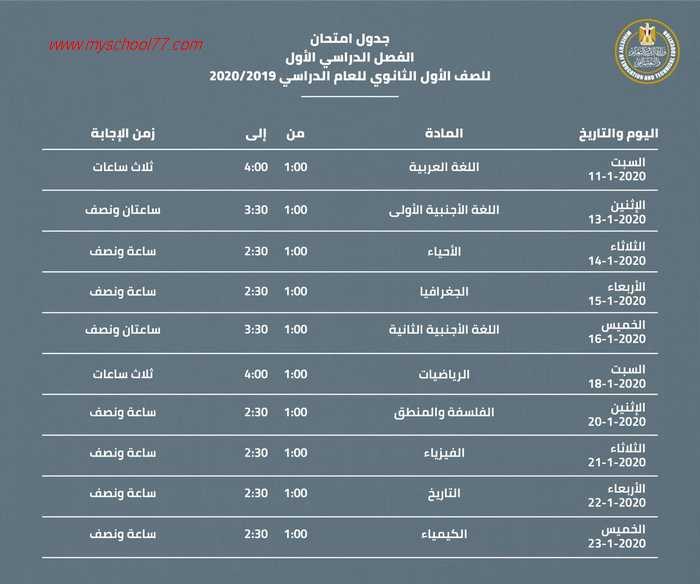 جداول امتحانات الصف الأول والثاني الثانوي الفصل الدراسي الأول 2020/2019