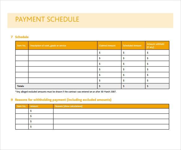 excel payment schedule