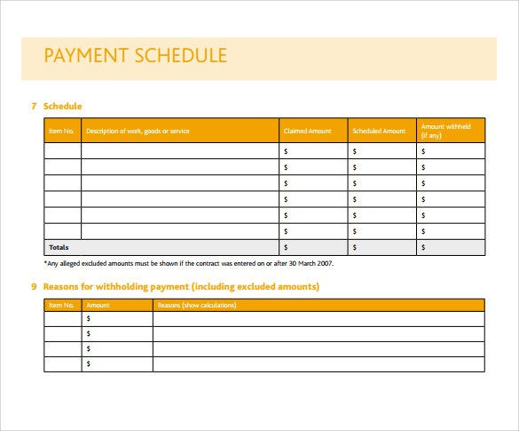 Simple Project Payment Schedule Templates - Excel Template - payment schedule template