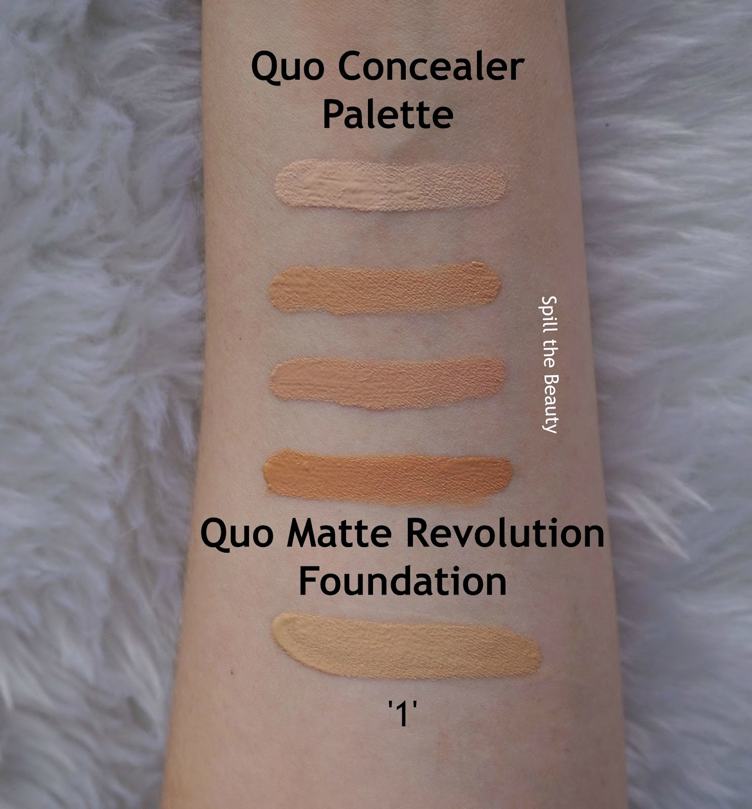 quo 2017 makeup review swatches nourish and prime hydrating primer matte revolution foundation 1 setting spray concealer palette