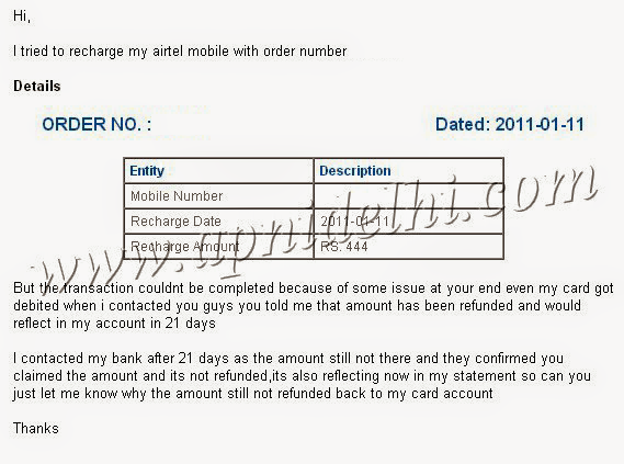 Freecharge Complain Failed Transaction