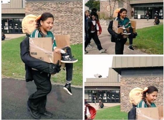 Niña se disfraza de migrante deportada por Trump y enloquece las redes