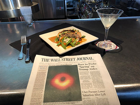 First night in Denver with salmon dinner, martini and iconic image in the Wall Street Journal (Source: Palmia Observatory)